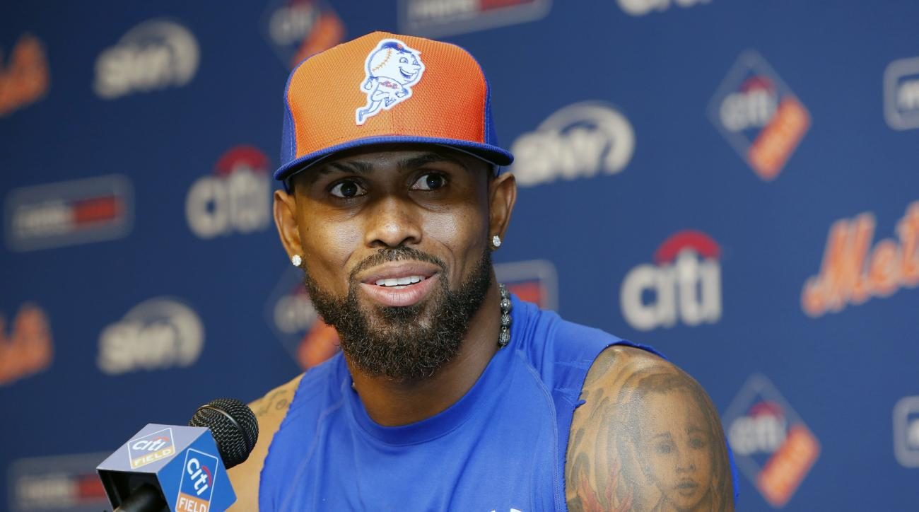 Former New York Mets' Jose Reyes speaks to the media during a press conference before a baseball game between the Mets and the Miami Marlins Tuesday, July 5, 2016, in New York. Reyes was signed by the Mets after the Colorado Rockies released him after he