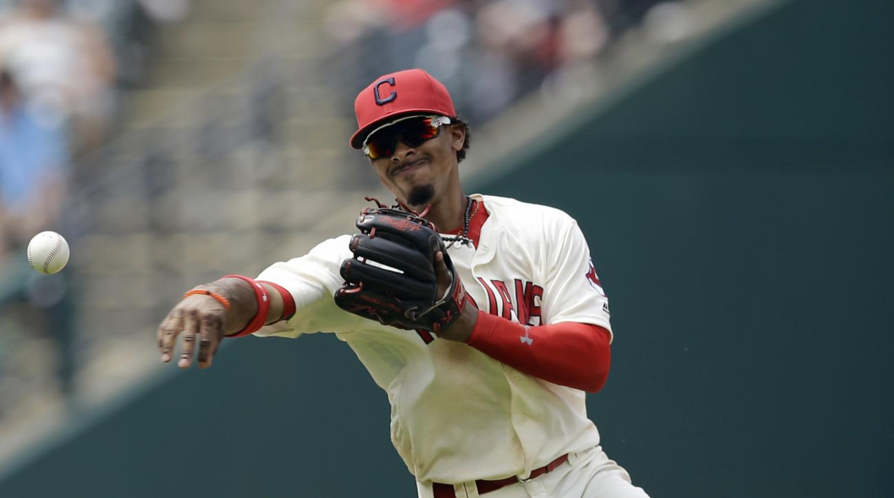 Cleveland Indians' Francisco Lindor throws out Detroit Tigers' Cameron Maybin at first base in the eight inning of a baseball game, Wednesday, July 6, 2016, in Cleveland. (AP Photo/Tony Dejak)