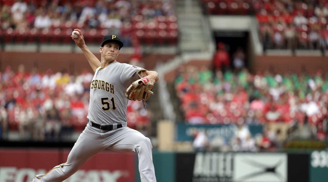 Pittsburgh Pirates starting pitcher Tyler Glasnow throws in his major league debut during the first inning of a baseball game against the St. Louis Cardinals Thursday, July 7, 2016, in St. Louis. (AP Photo/Jeff Roberson)
