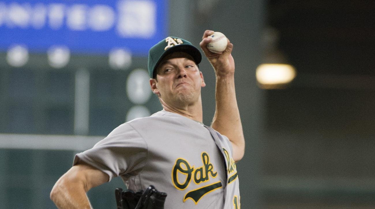 Oakland Athletics starting pitcher Rich Hill (18) pitches against the Houston Astros in the first inning of a baseball game Thursday, July 7, 2016, in Houston. (AP Photo/George Bridges)
