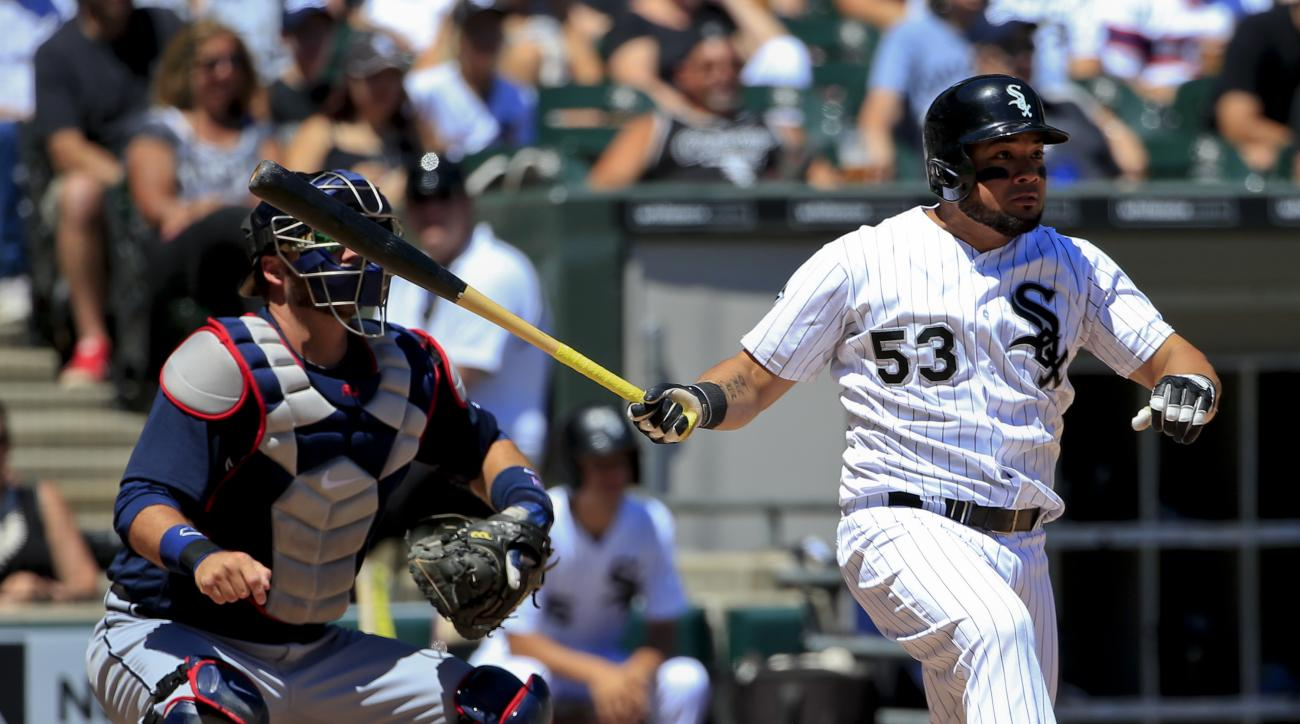 Chicago White Sox's Melky Cabrera watches his RBI-single during the third inning of a baseball game against the Atlanta Braves, Saturday, July 9, 2016, in Chicago. Tim Anderson scored on the play. (AP Photo/Kamil Krzaczynski)