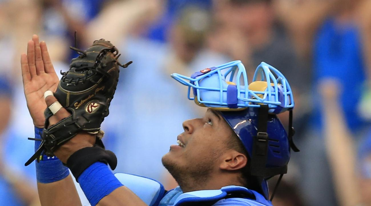 Kansas City Royals catcher Salvador Perez celebrates after a baseball game against the Seattle Mariners at Kauffman Stadium in Kansas City, Mo., Saturday, July 9, 2016. (AP Photo/Orlin Wagner)