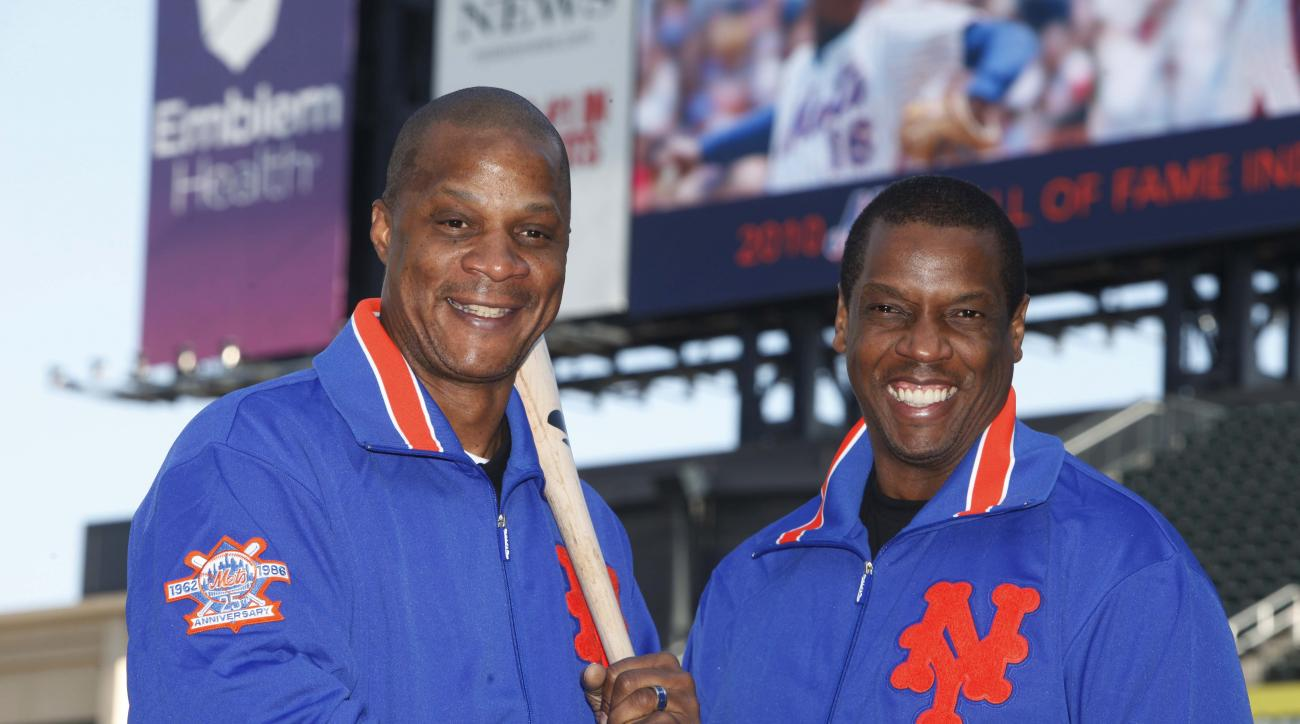 """FILE - This Aug. 1, 2010, file photo shows former New York Mets' players Dwight Gooden, right, and Darryl Strawberry posing at Citi Field in New York. ESPN's latest """"30 for 30"""" documentary, """"Doc & Darryl,"""" examines their relationship. The film premieres T"""