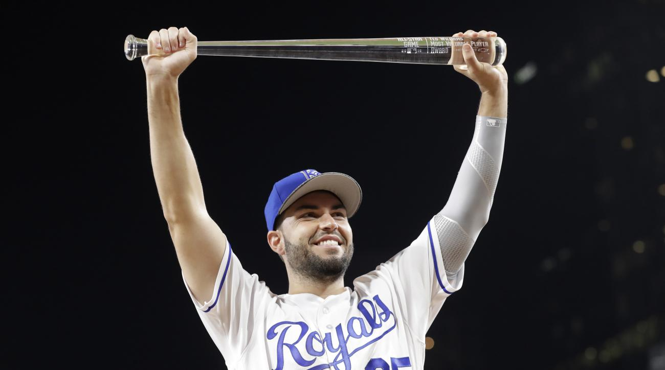 American League's Eric Hosmer, of the Kansas City Royals, holds the MVP award after the MLB baseball All-Star Game, Tuesday, July 12, 2016, in San Diego. The American League won 4-2. (AP Photo/Gregory Bull)