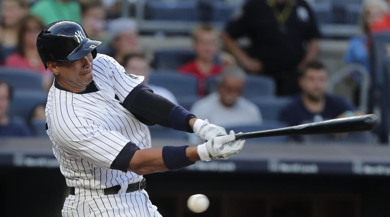 New York Yankees designated hitter Alex Rodriguez swings and misses during his first at-bat during the second inning of a baseball game, Friday, July 15, 2016, in New York. Rodriguez grounded out on the at-bat. (AP Photo/Julie Jacobson)