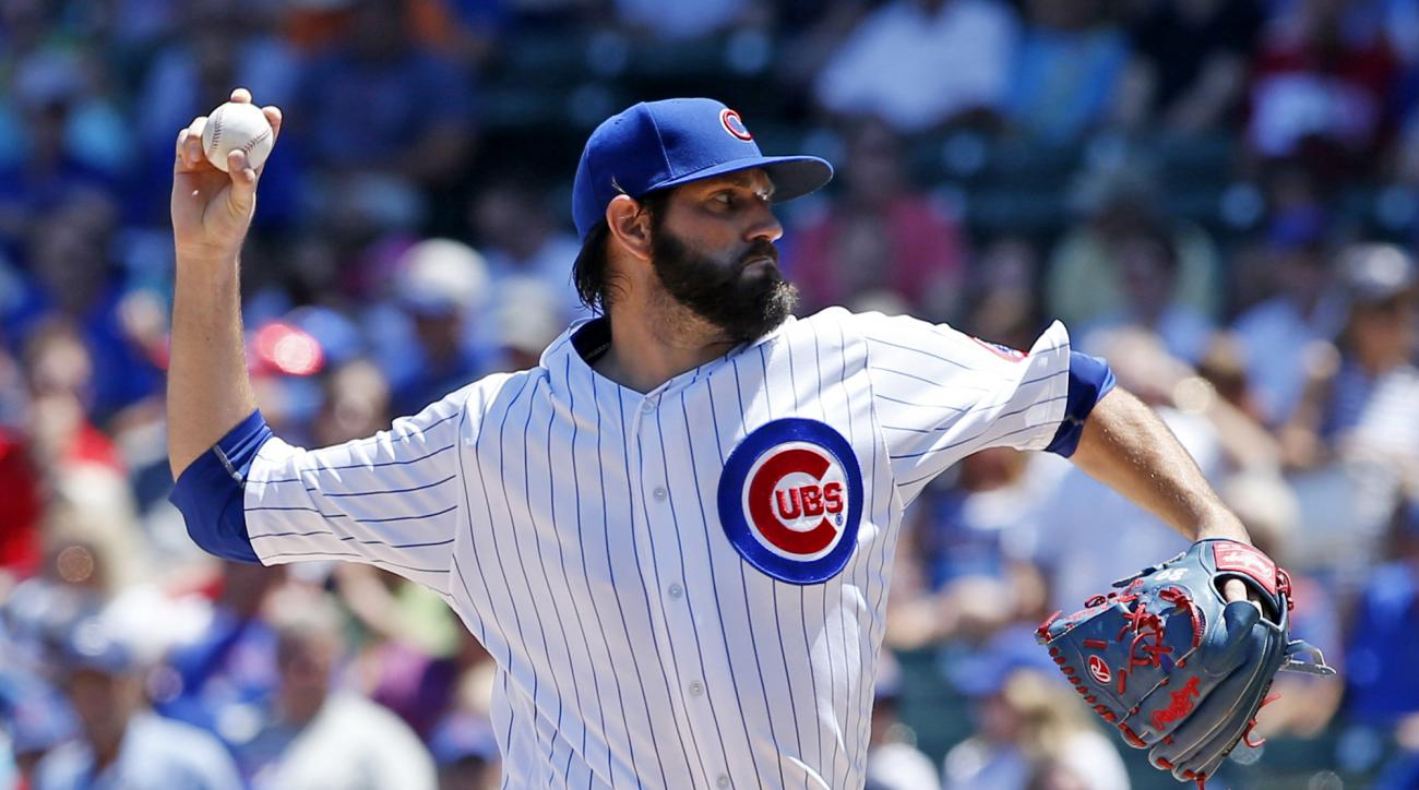 Chicago Cubs starter Jason Hammel throws against the Texas Rangers during the first inning of an interleague baseball game in Chicago, Saturday, July 16, 2016. (AP Photo/Nam Y. Huh)