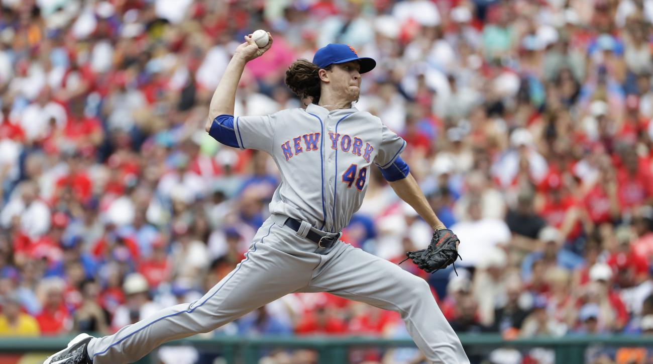 New York Mets' Jacob deGrom pitches during the second inning of a baseball game against the Philadelphia Phillies, Sunday, July 17, 2016, in Philadelphia. (AP Photo/Matt Slocum)