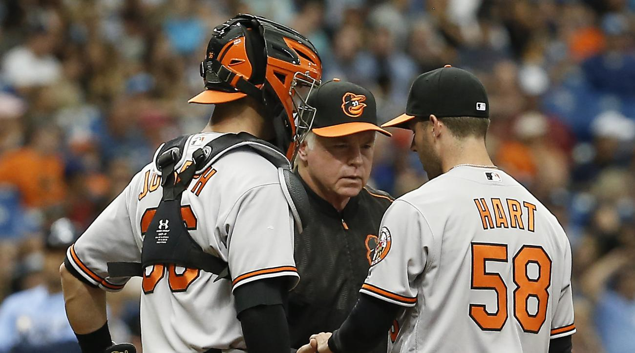 Baltimore Orioles catcher Caleb Joseph (36) looks on as manager Buck Showalter, center, takes the ball from relief pitcher Donnie Hart (58) during the sixth inning of a baseball game against the Tampa Bay Rays, Sunday, July 17, 2016, in St. Petersburg, Fl