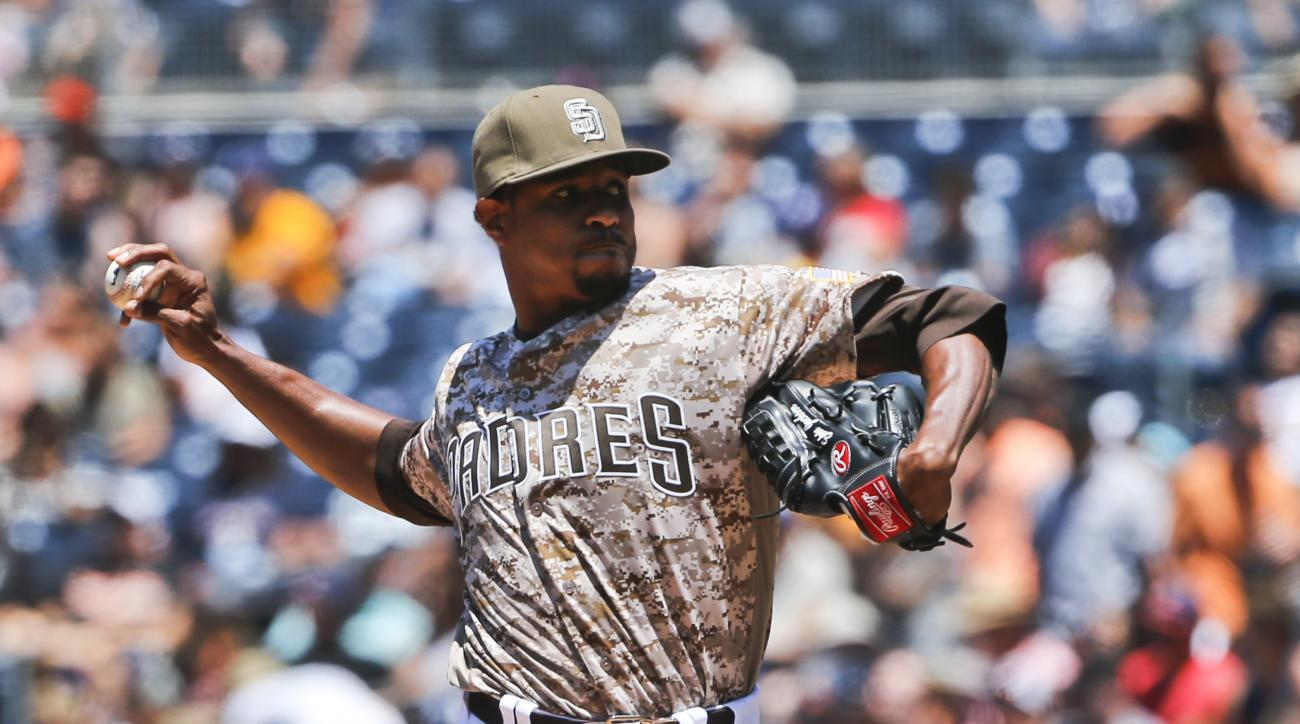 San Diego Padres starter Edwin Jackson throws against the San Francisco Giants in the first inning of a baseball game Sunday, July 17, 2016, in San Diego. (AP Photo/Lenny Ignelzi)