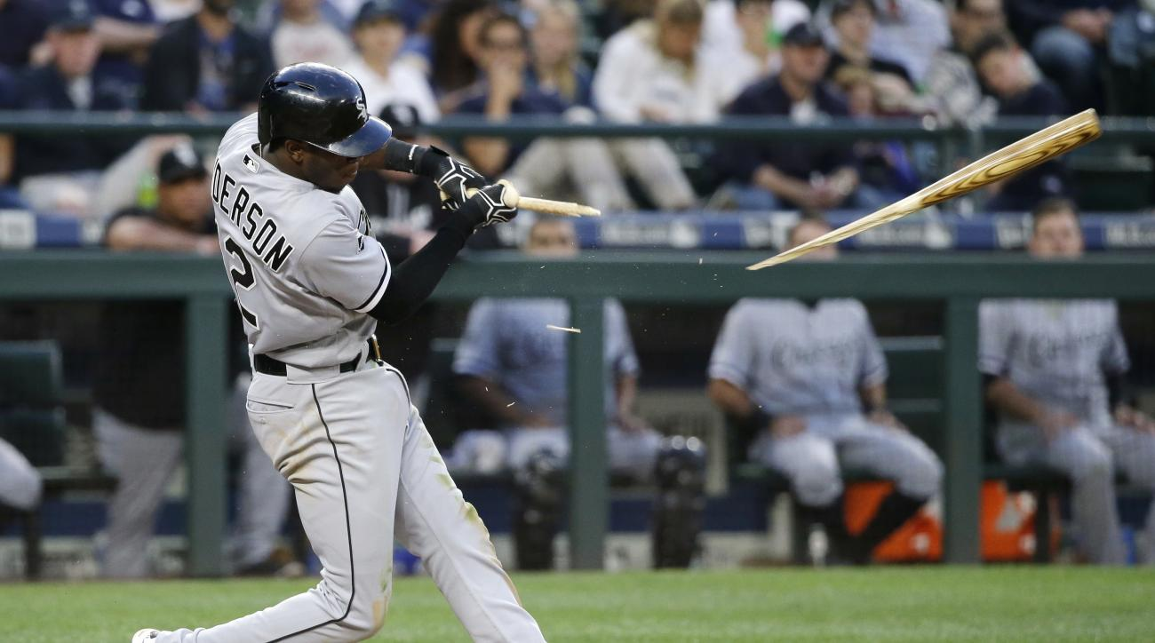 Chicago White Sox' Tim Anderson breaks his bat as he hits a single in the sixth inning of a baseball game against the Seattle Mariners, Tuesday, July 19, 2016, in Seattle. (AP Photo/Ted S. Warren)