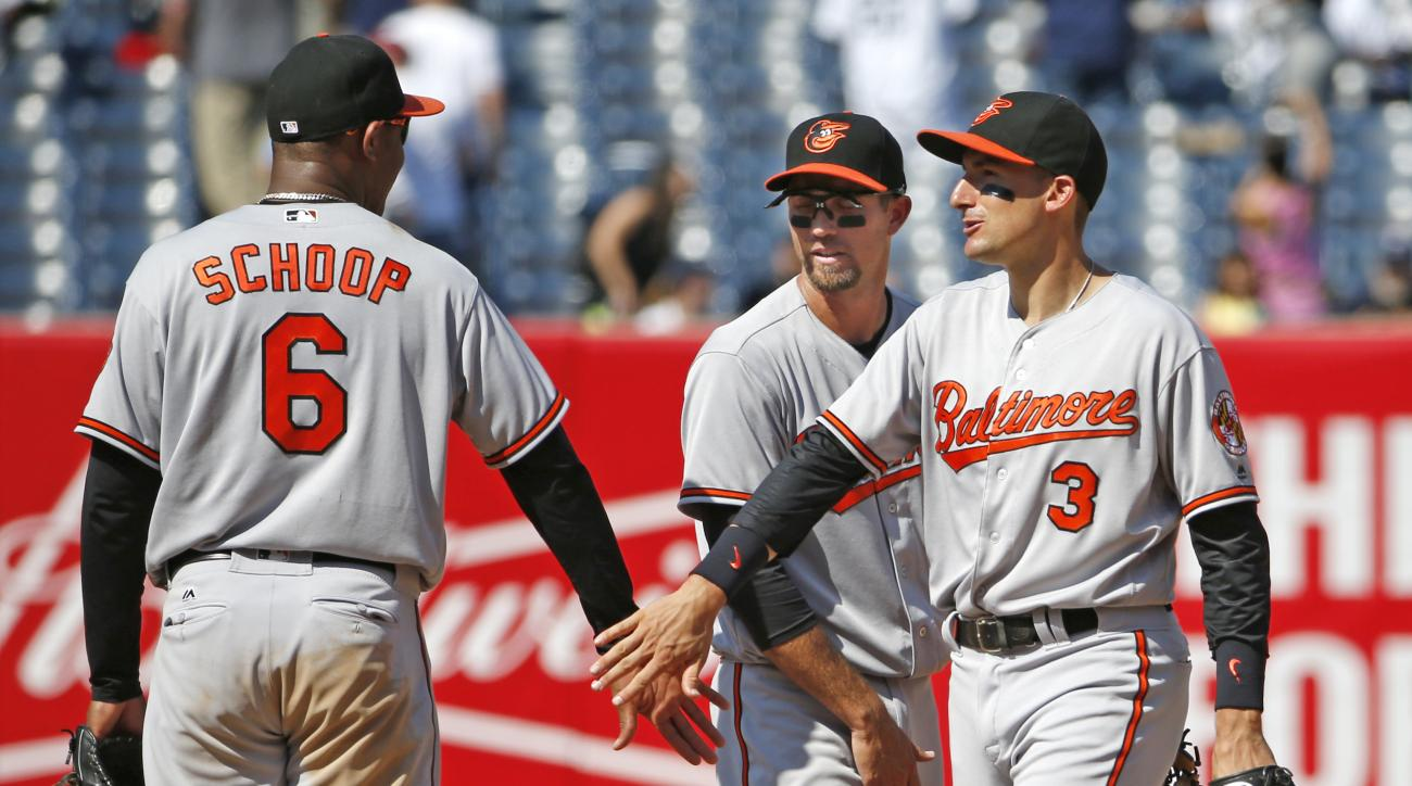 Baltimore Orioles second baseman Jonathan Schoop (6), Orioles shortstop J.J. Hardy and Orioles right fielder Ryan Flaherty (3) celebrate after defeating the New York Yankees in a baseball game in New York, Thursday, July 21, 2016. The Orioles won 4-1.(AP