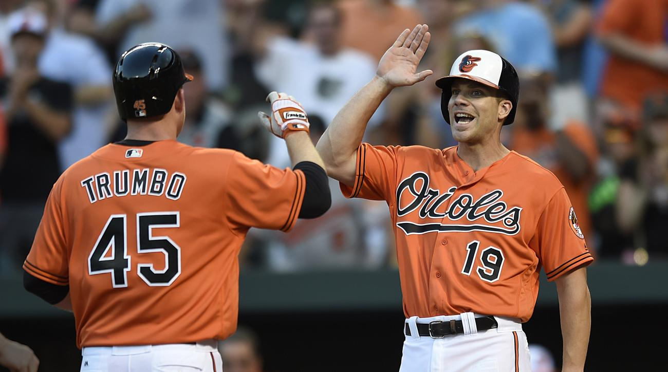 Baltimore Orioles' Chris Davis, right, congratulates Mark Trumbo after his two-run home run against the Cleveland Indians in the first inning of a baseball game, Saturday, July 23, 2016 in Baltimore. Davis also scored on the home run. (AP Photo/Gail Burto