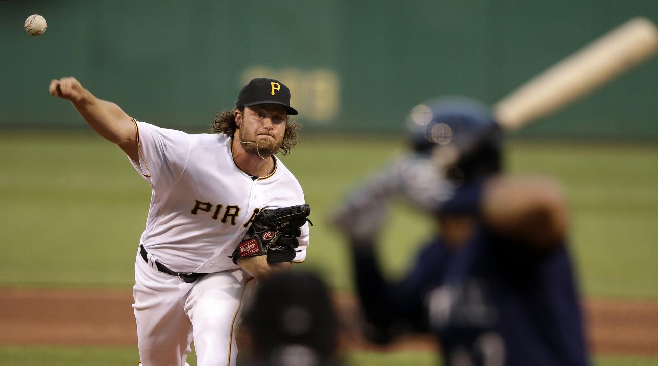 Pittsburgh Pirates starting pitcher Gerrit Cole delivers during the fourth inning of a baseball game against the Seattle Mariners in Pittsburgh, Wednesday, July 27, 2016. (AP Photo/Gene J. Puskar)
