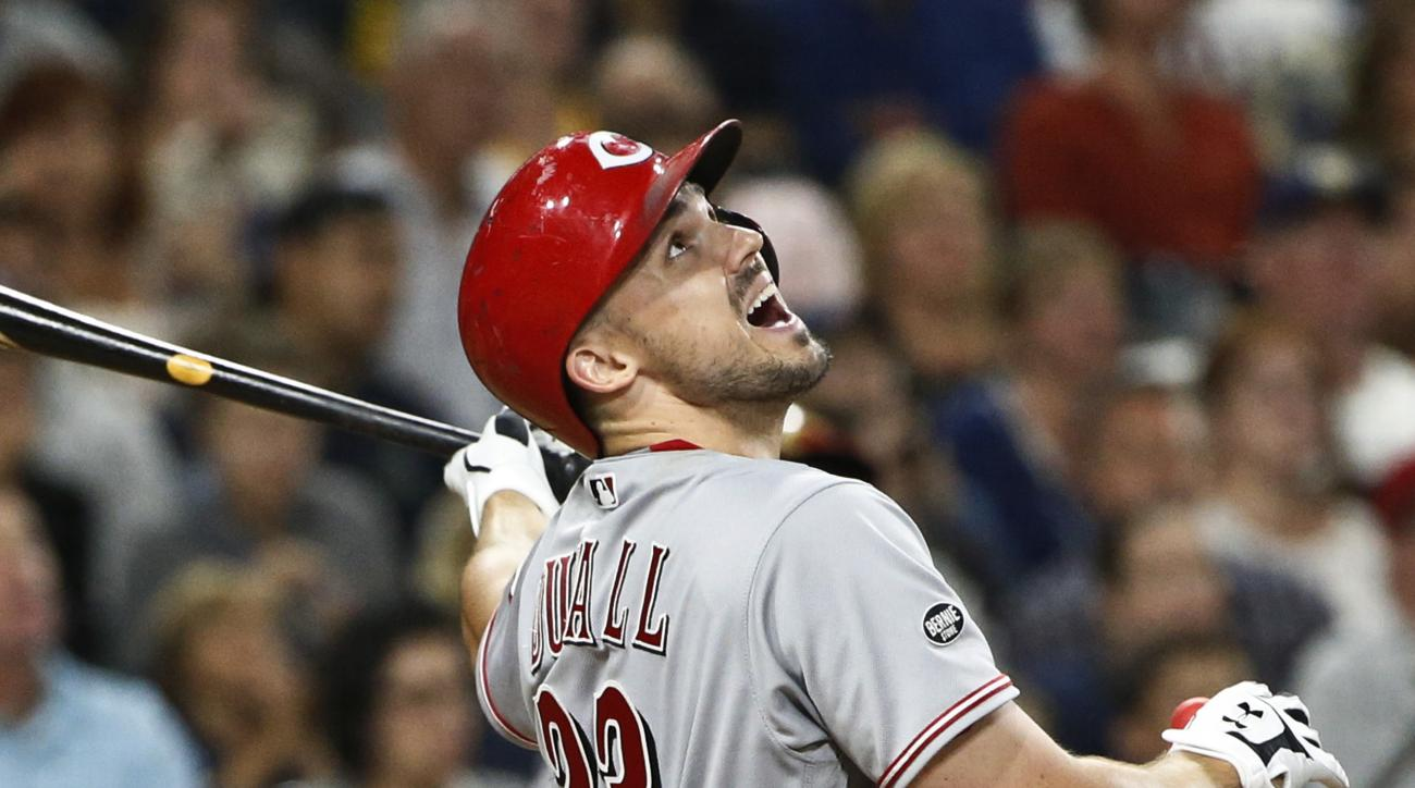 Cincinnati Reds' Adam Duvall watches his pop-up against the San Diego Padres during the fifth inning of a baseball game Friday, July 29, 2016, in San Diego. (AP Photo/Lenny Ignelzi)