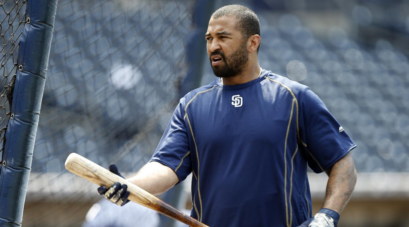 San Diego Padres' Matt Kemp walks out of the batting cage during warmups before a baseball game against the Cincinnati Reds in San Diego, Saturday, July 30, 2016. (AP Photo/Alex Gallardo)