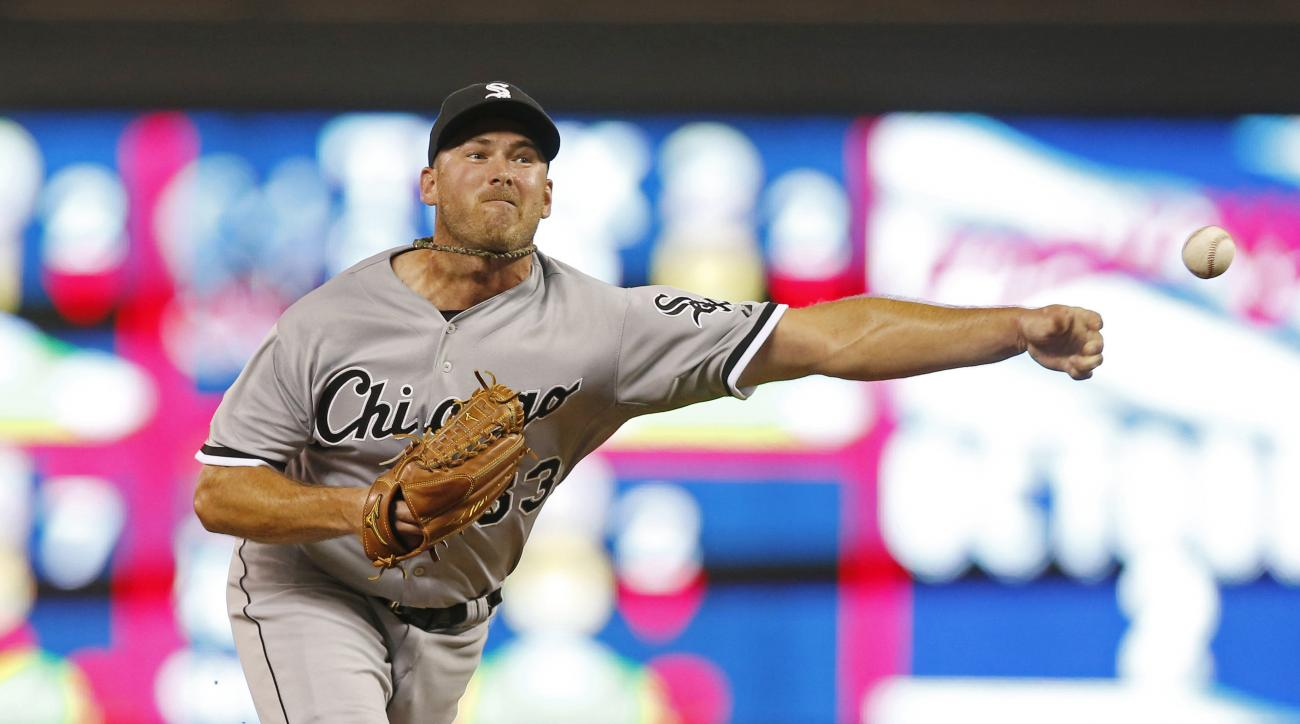 FILE - In a Sept. 1, 2015 file photo, Chicago White Sox reliever Zach Duke pitches against the Minnesota Twins during the eighth inning of a baseball game, in Minneapolis.  The St. Louis Cardinals acquired veteran left-hander Duke from the Chicago White S