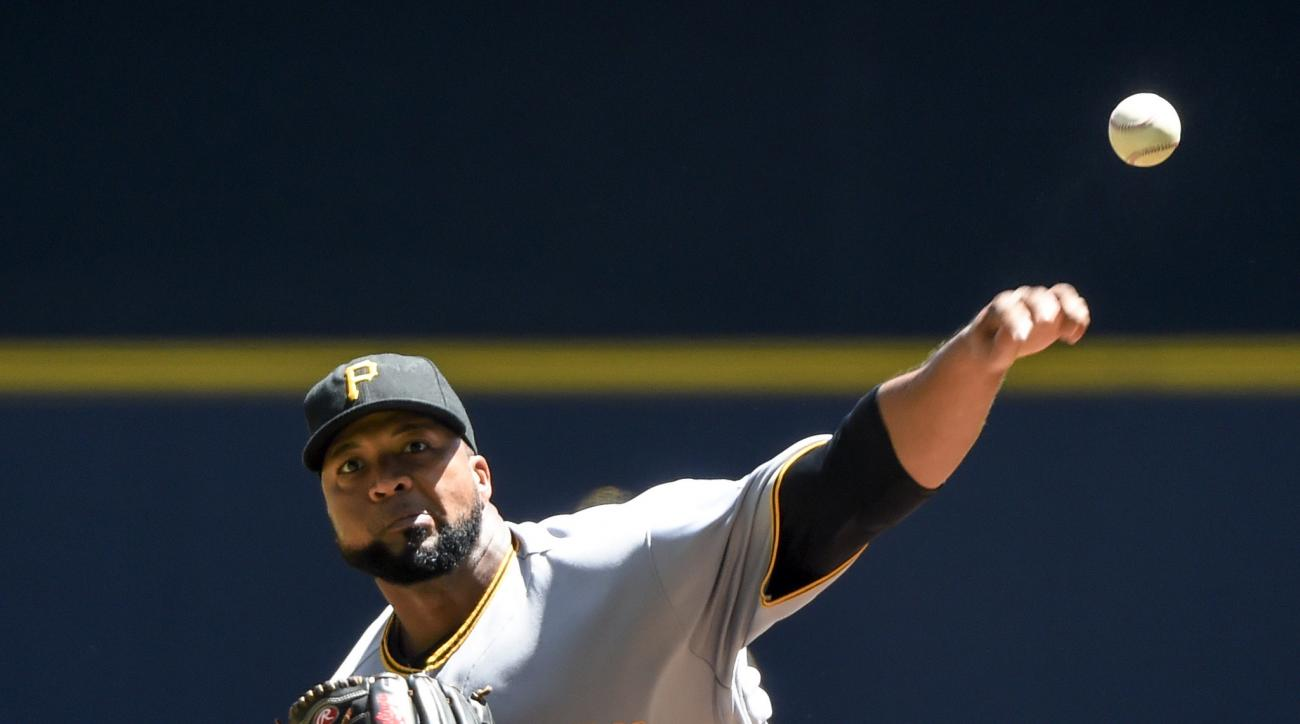 Pittsburgh Pirates starting pitcher Francisco Liriano throws during the first inning of a baseball game against the Milwaukee Brewers, Sunday, July 31, 2016, in Milwaukee. (AP Photo/Benny Sieu)
