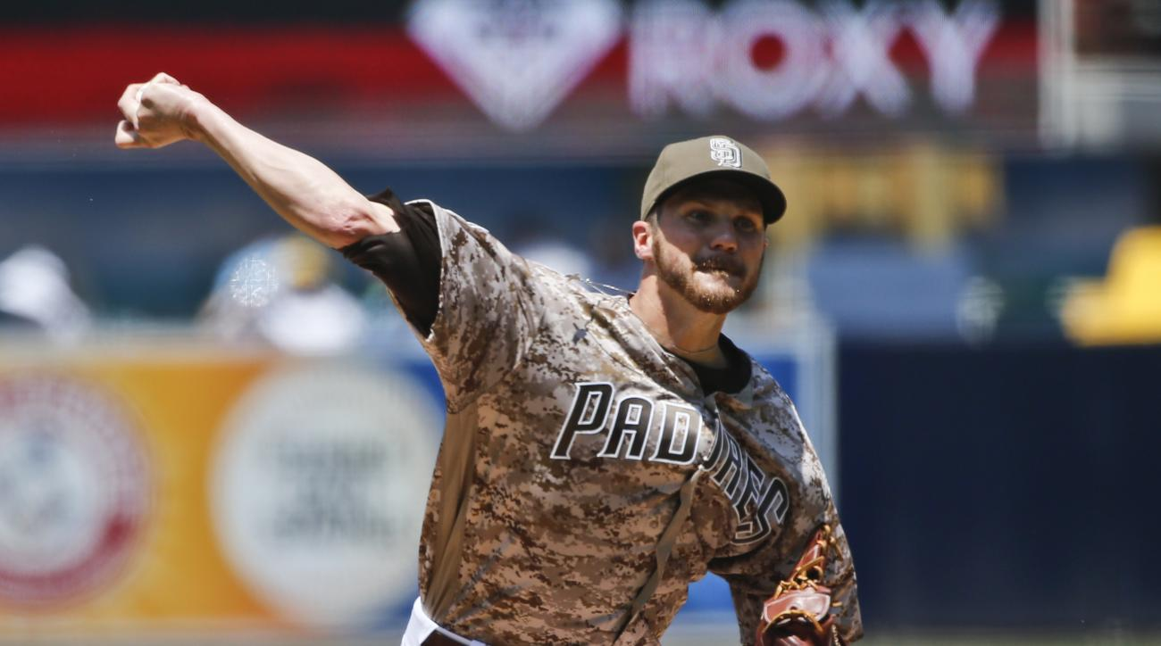 San Diego Padres starter Paul Clemens throws against the Cincinnati Reds in the first inning of a baseball game Sunday, July 31, 2016, in San Diego. (AP Photo/Lenny Ignelzi)