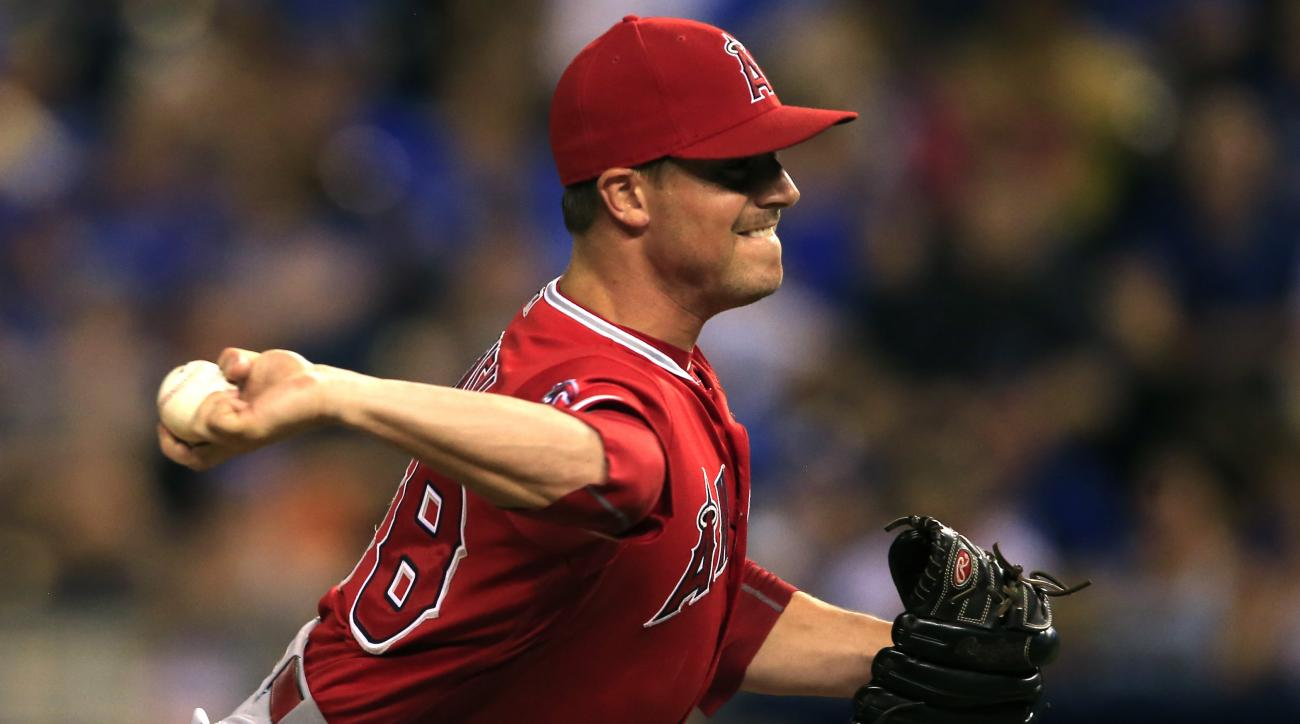 Los Angeles Angels relief pitcher Joe Smith during a baseball game against the Kansas City Royals at Kauffman Stadium in Kansas City, Mo., Tuesday, July 26, 2016. The Angels defeated the Royals 13-0. (AP Photo/Orlin Wagner)