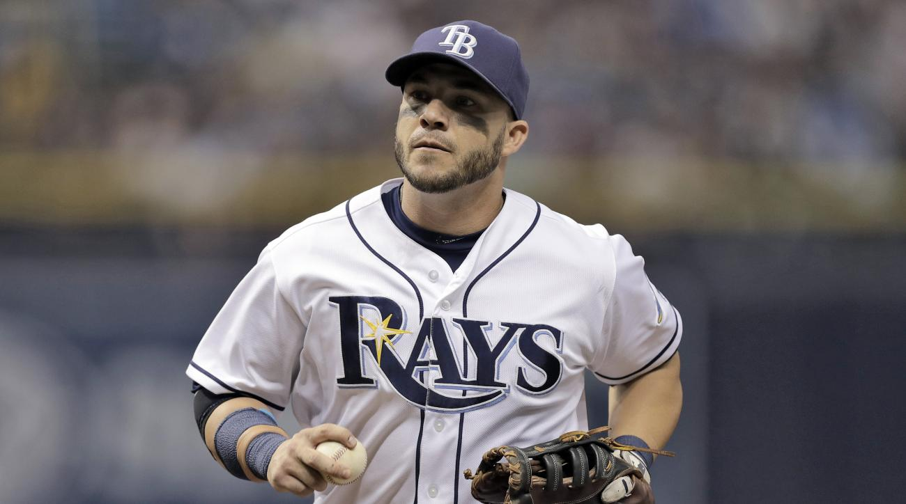 FILE - This July 30, 2016 file photo shows Tampa Bay Rays first baseman Steve Pearce during the fourth inning of a baseball game against the New York Yankees in St. Petersburg, Fla. The Orioles have reacquired Pearce from Tampa Bay, sending the Rays minor