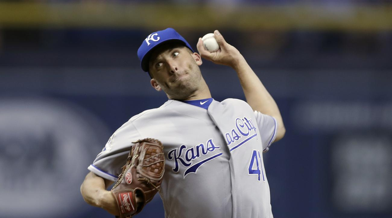 Kansas City Royals' Danny Duffy pitches to the Tampa Bay Rays during the first inning of a baseball game, Monday, Aug. 1, 2016, in St. Petersburg, Fla. (AP Photo/Chris O'Meara)