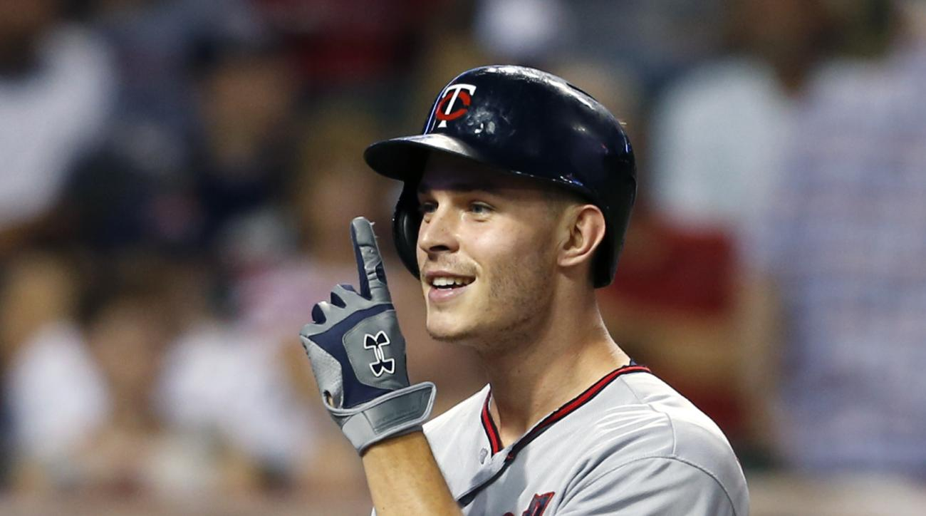 Minnesota Twins' Max Kepler celebrates after hitting a two run home run off Cleveland Indians relief pitcher Cody Anderson during the sixth inning of a baseball game, Monday, Aug. 1, 2016, in Cleveland. The home run was Kepler's third of the game. (AP Pho