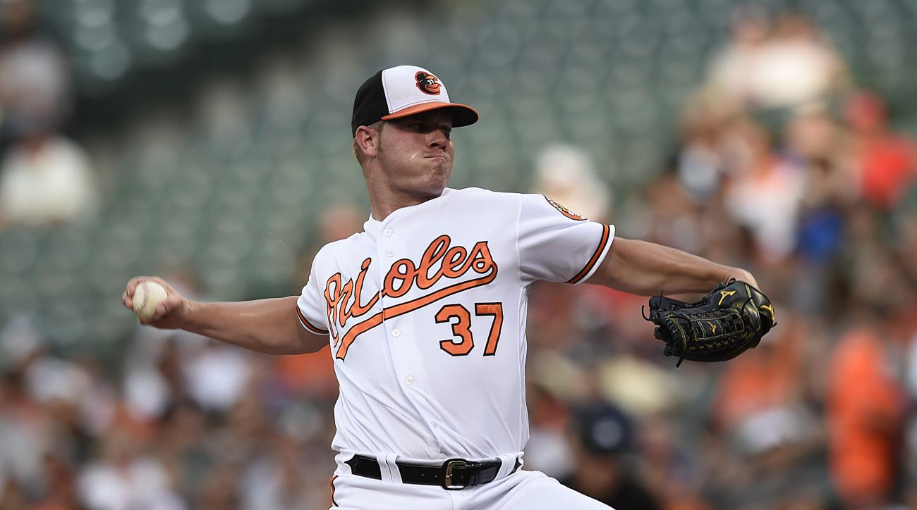 Baltimore Orioles pitcher Dylan Bundy throws to the Texas Rangers during the first inning of a baseball in Baltimore, Tuesday, Aug. 2, 2016. (AP Photo/Gail Burton)