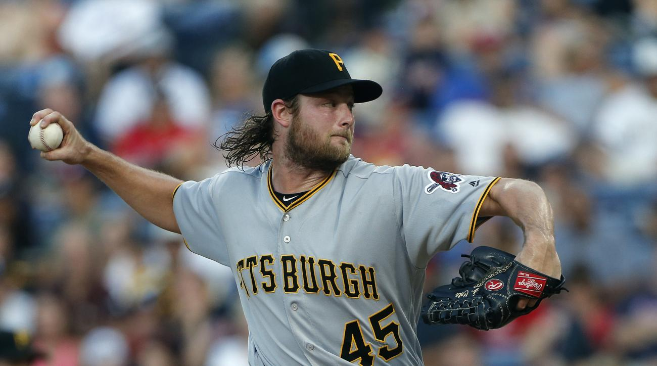 Pittsburgh Pirates starting pitcher Gerrit Cole (45) works in the second inning for a baseball game against Atlanta Braves, Tuesday, Aug. 2, 2016, in Atlanta. (AP Photo/John Bazemore)