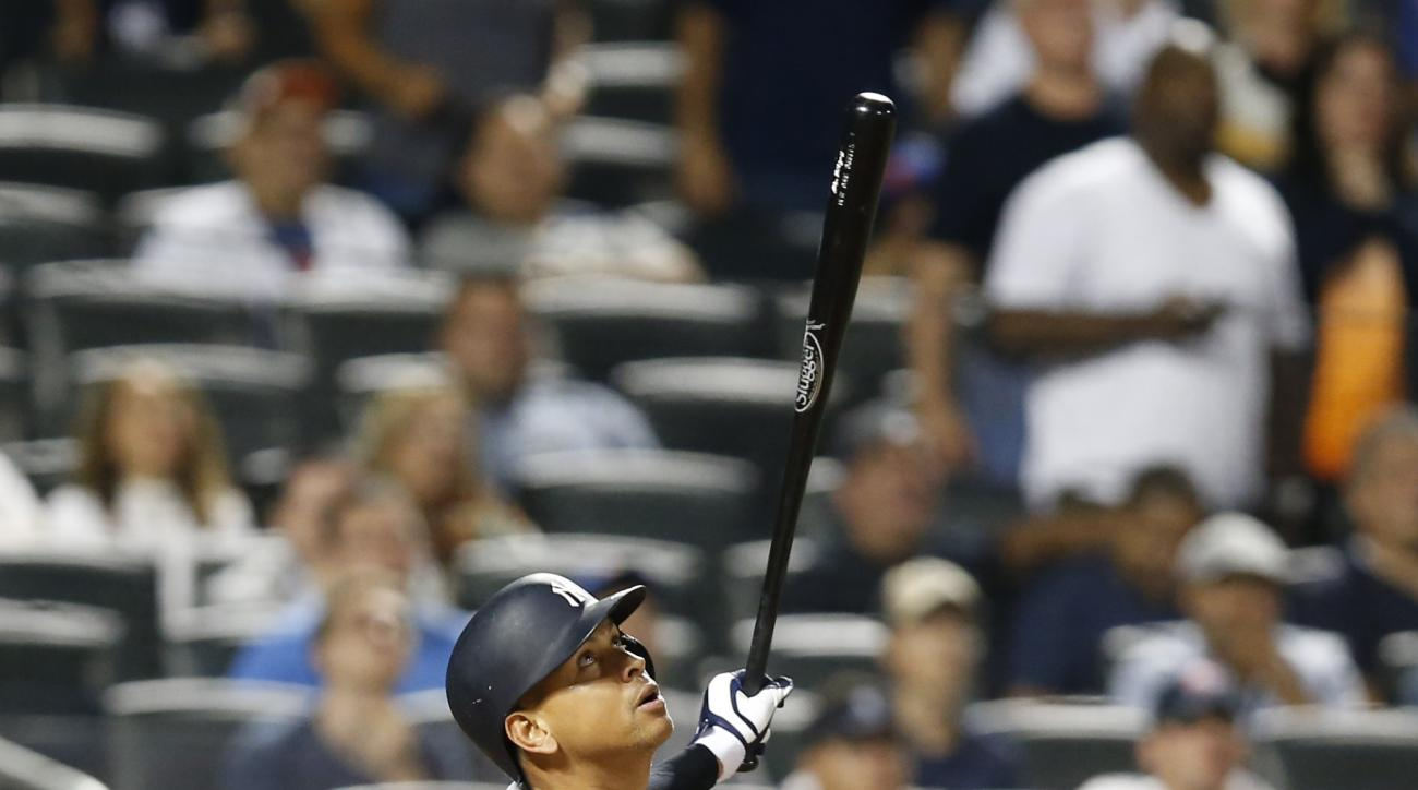 New York Yankees pinch hitter Alex Rodriguez flies out to right field for the final out in a loss to the New York Mets in an interleague baseball game Tuesday, Aug. 2, 2016, in New York. (AP Photo/Kathy Willens)