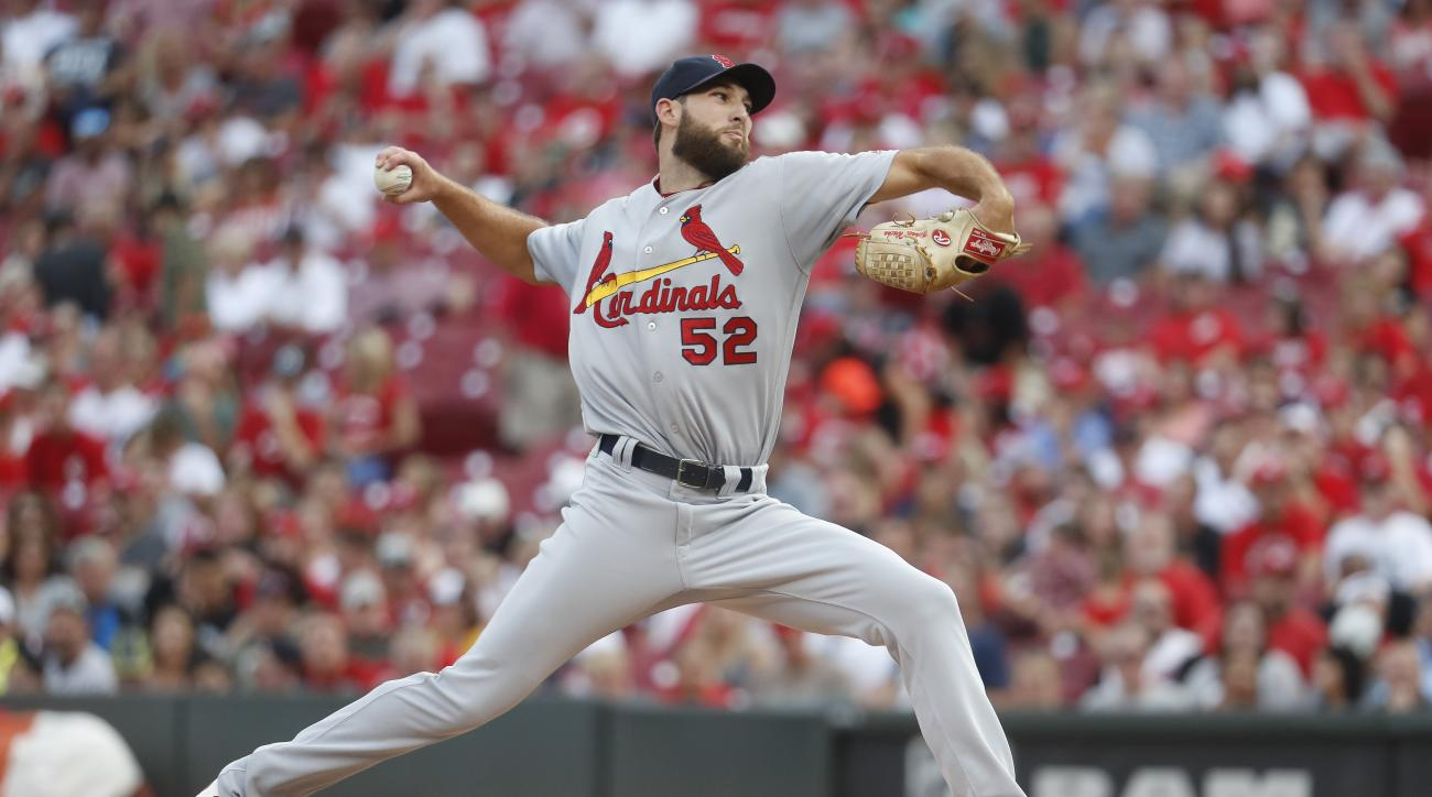 St. Louis Cardinals starting pitcher Michael Wacha throws during the first inning of a baseball game against the Cincinnati Reds, Wednesday, Aug. 3, 2016, in Cincinnati. (AP Photo/John Minchillo)
