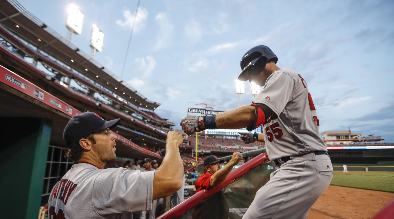 St. Louis Cardinals' Stephen Piscotty (55) celebrates with manager Mike Matheny after hitting a solo home run off Cincinnati Reds starting pitcher Cody Reed during the fifth inning of a baseball game, Wednesday, Aug. 3, 2016, in Cincinnati. (AP Photo/John