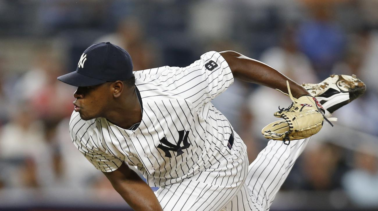 New York Yankees relief pitcher Luis Severino follows through in the fifth inning of the team's baseball game against the New York Mets, Wednesday, Aug. 3, 2016, in New York. (AP Photo/Kathy Willens)