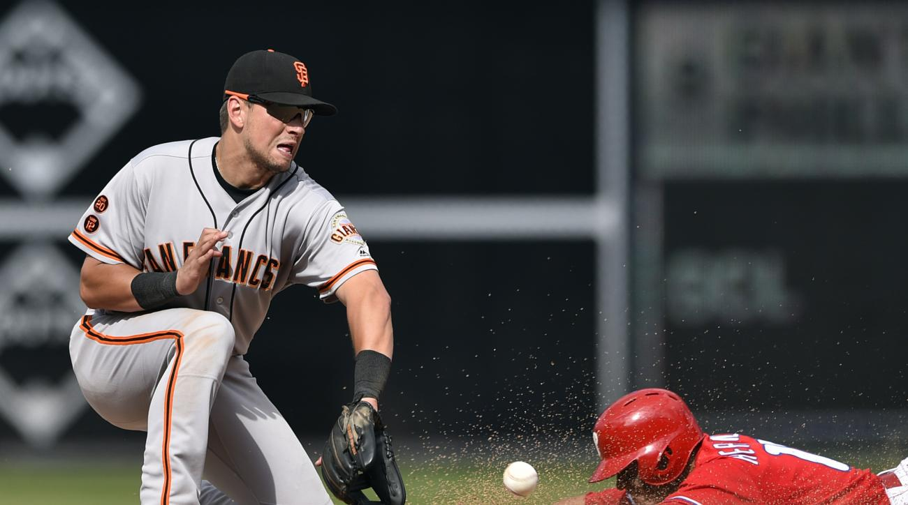 Philadelphia Phillies' Cesar Hernandez, right, is caught stealing second base by San Francisco Giants' Joe Panik during the ninth inning of a baseball game, Thursday, Aug. 4, 2016, in Philadelphia. The Giants won 3-2. (AP Photo/Derik Hamilton)