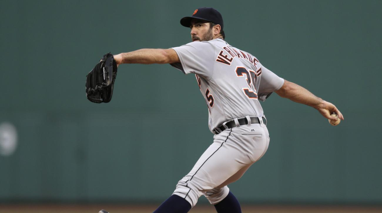 FILE - In this July 25, 2016, file photo, Detroit Tigers starting pitcher Justin Verlander winds up during the first inning of a baseball game against the Boston Red Sox in Boston. Verlander is scheduled to start for the Tigers in the opening game of a se