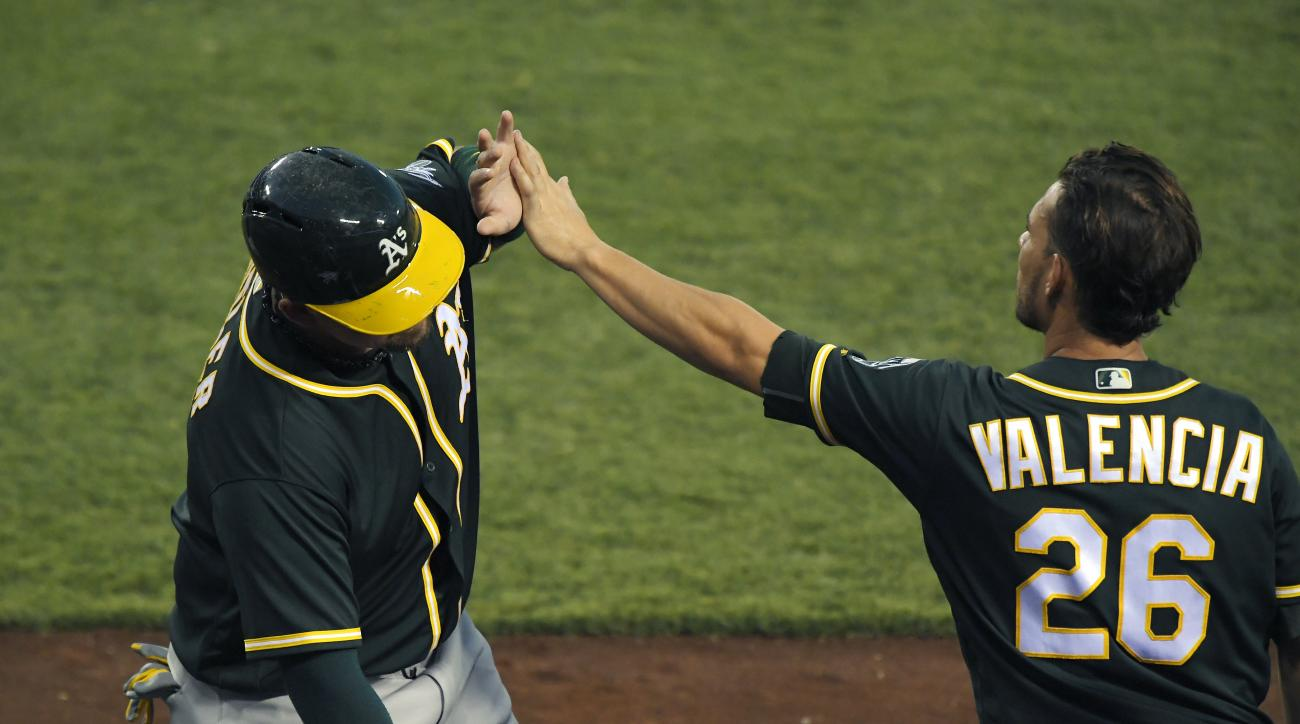 Oakland Athletics' Billy Butler, left, is congratulated by Danny Valencia after scoring on a single by Marcus Semien during the 10th inning of a baseball game against the Los Angeles Angels, Thursday, Aug. 4, 2016, in Anaheim, Calif. The Athletics won 8-6