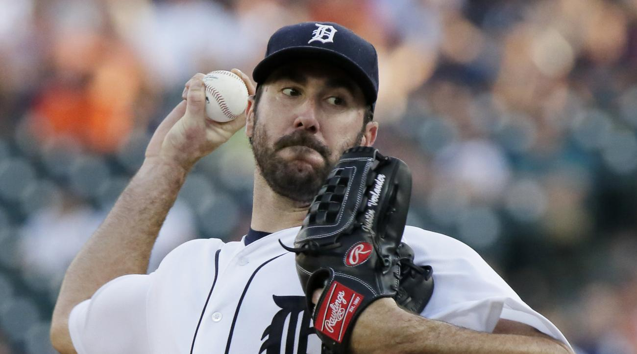 Detroit Tigers' Justin Verlander pitches against the New York Mets during the second inning of an interleague baseball game Friday, Aug. 5, 2016, in Detroit. (AP Photo/Duane Burleson)