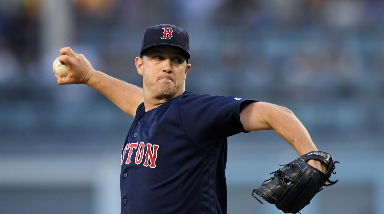 Boston Red Sox starting pitcher Steven Wright throws to the plate during the first inning of a baseball game against the Los Angeles Dodgers, Friday, Aug. 5, 2016, in Los Angeles. (AP Photo/Mark J. Terrill)