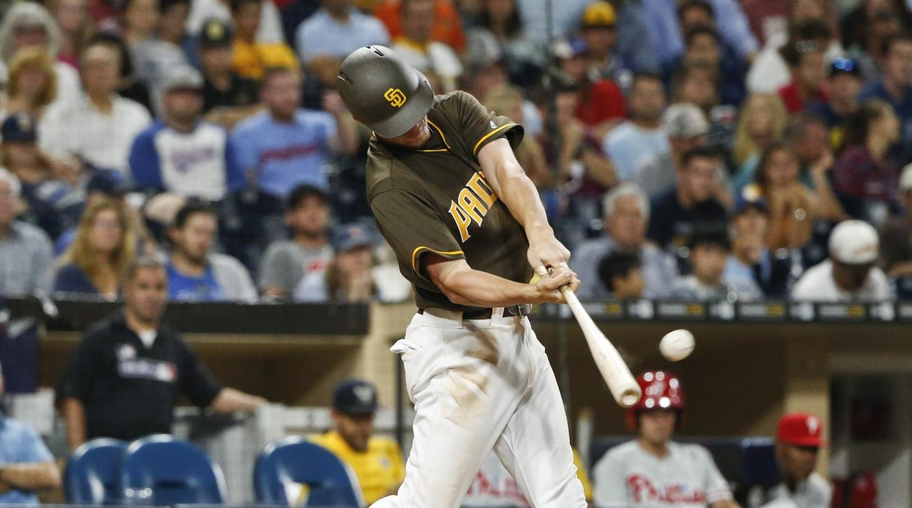 San Diego Padres' Wil Myers launches a solo home run against the Philadelphia Phillies during the eighth inning of a baseball game Friday, Aug. 5, 2016, in San Diego. (AP Photo/Lenny Ignelzi)