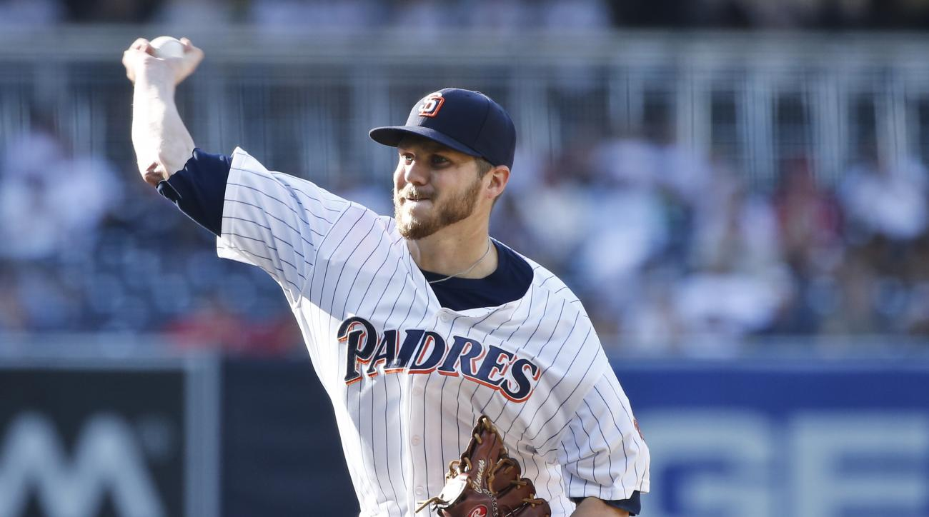 San Diego Padres starting pitcher Paul Clemens works against the Philadelphia Phillies in the first inning of a baseball game Saturday, Aug. 6, 2016, in San Diego. (AP Photo/Lenny Ignelzi)
