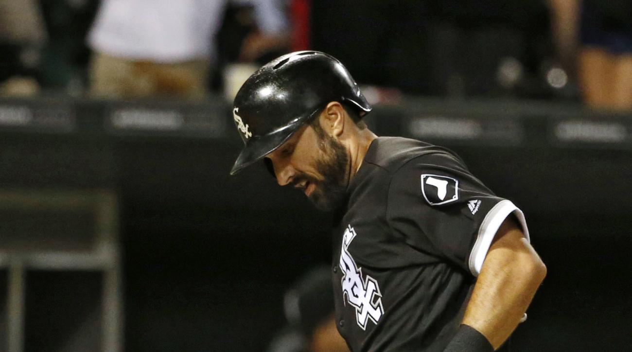 Chicago White Sox's Adam Eaton touches home plate after hitting a solo home run during the eighth inning of a baseball game against the Baltimore Orioles in Chicago, Saturday, Aug. 6, 2016. (AP Photo/Nam Y. Huh)