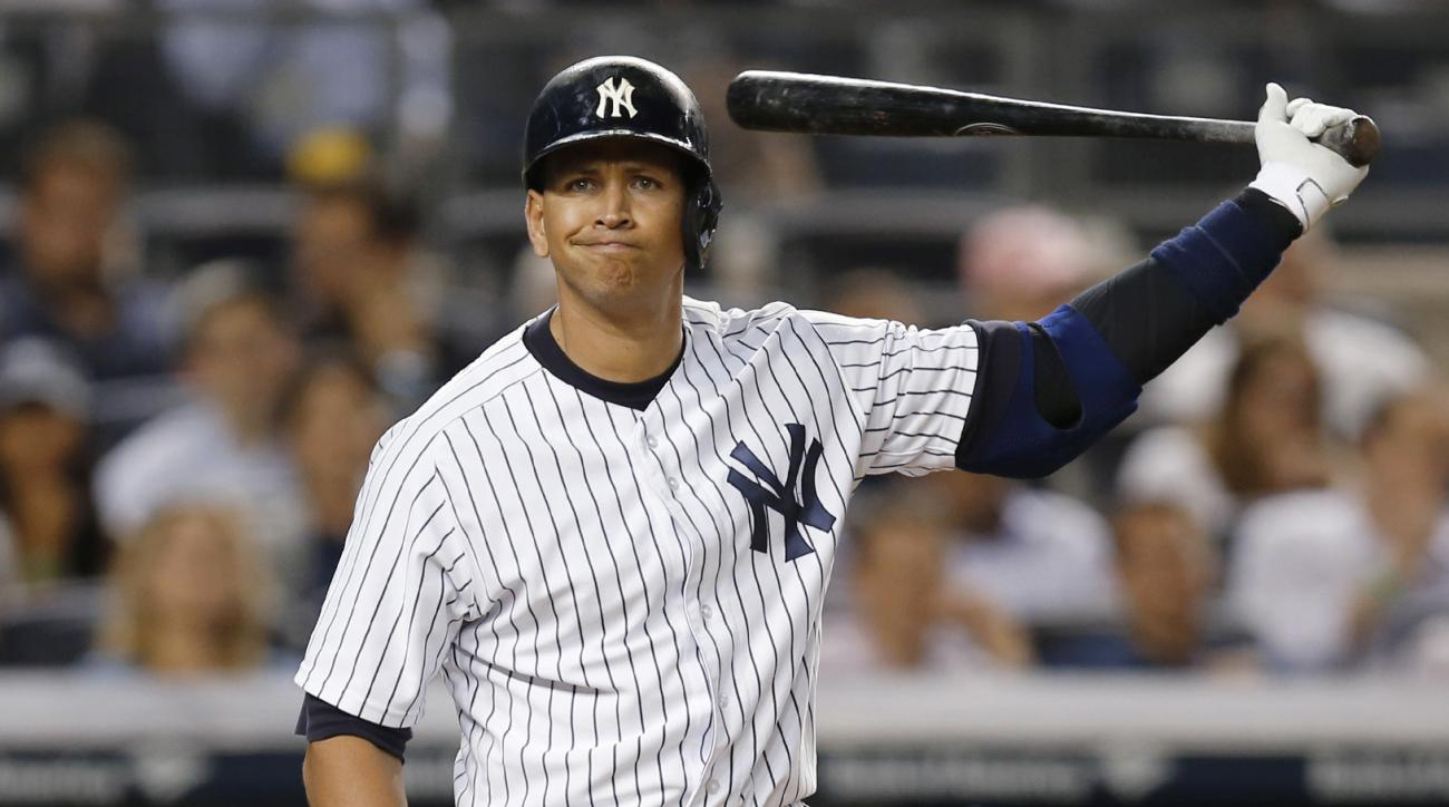 FILE - In this May 26, 2015 file photo, New York Yankees designated hitter Alex Rodriguez reacts during a seventh-inning at-bat in a baseball game against the Kansas City Royals at Yankee Stadium in New York. Since Rodriguez announced that Friday, Aug. 12