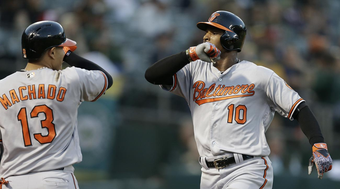 Baltimore Orioles' Adam Jones, right, celebrates with Manny Machado after hitting a home run off Oakland Athletics' Zach Neal during the fourth inning of a baseball game Tuesday, Aug. 9, 2016, in Oakland, Calif. (AP Photo/Ben Margot)
