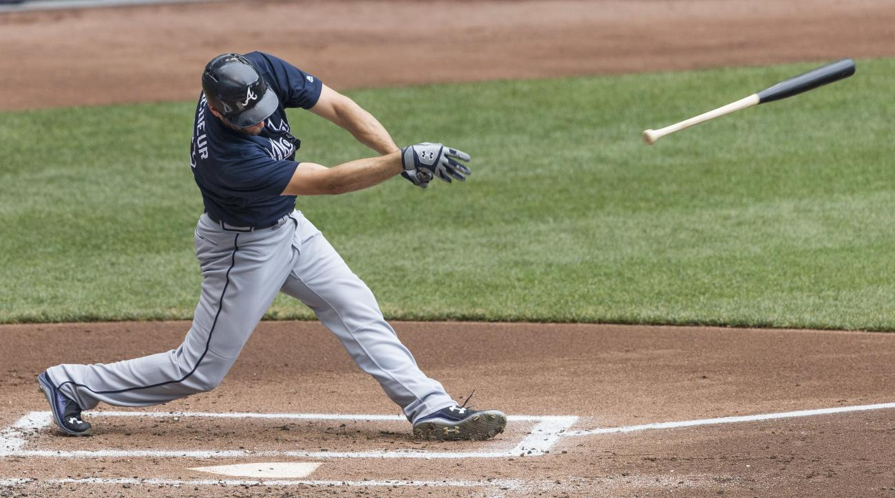 Atlanta Braves' Jeff Francoeur has his bat fly out of his hands during an at bat against the Milwaukee Brewers during the second inning of a baseball game Thursday, Aug. 11, 2016, in Milwaukee. (AP Photo/Tom Lynn)