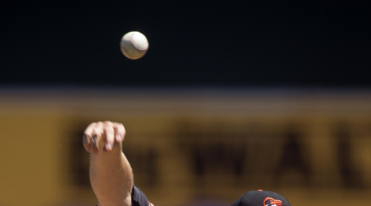 Baltimore Orioles starting pitcher Chris Tillman delivers against the Oakland Athletics during the first inning of a baseball game on Thursday, Aug. 11, 2016, in Oakland, Calif. (AP Photo/D. Ross Cameron)