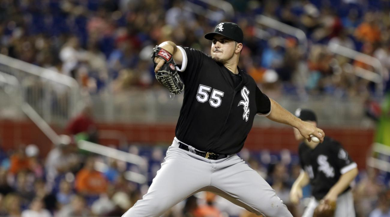 Chicago White Sox's Carlos Rodon pitches against the Miami Marlins in the third inning of a baseball game, Friday, Aug. 12, 2016, in Miami. (AP Photo/Alan Diaz)
