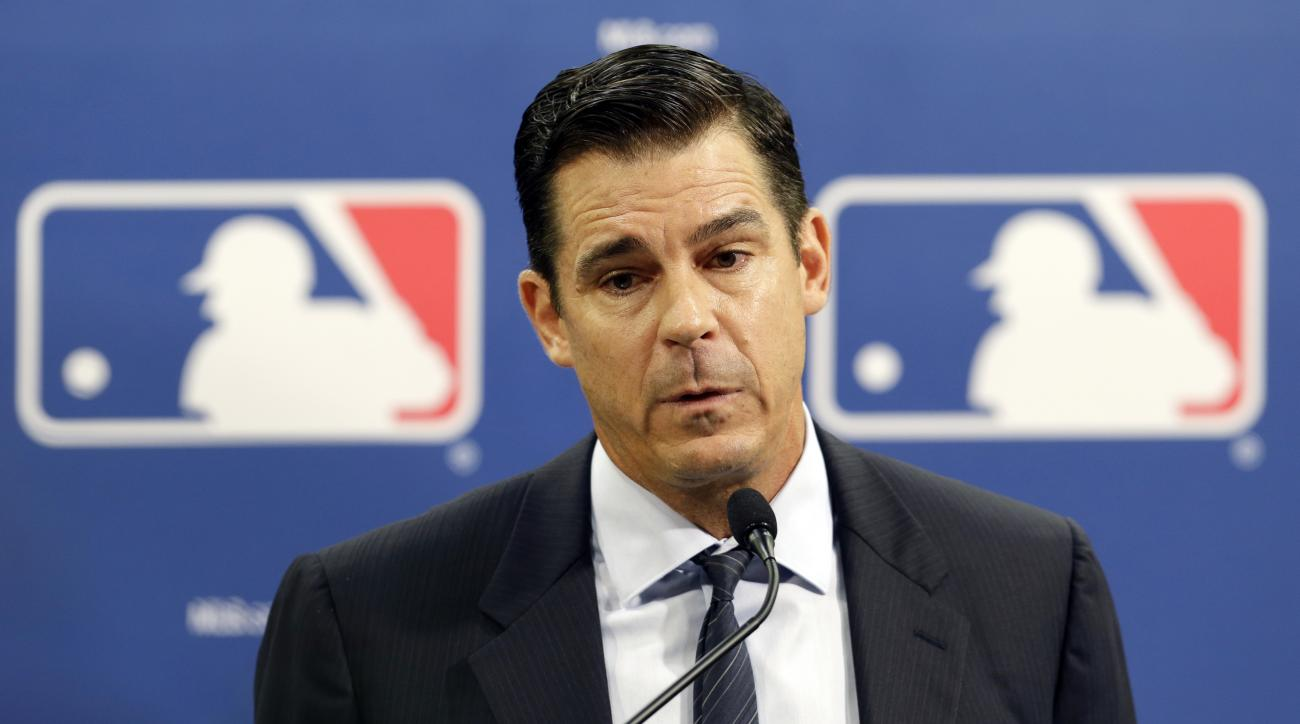 FILE - In this July 15, 2014, file photo, former major league outfielder Billy Bean speaks during a news conference at baseball's All-Star game, in Minneapolis. Billy Bean has come full circle, throwing out the first pitch for the first Mets Pride Night o
