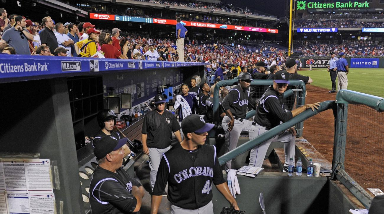 Colorado Rockies starting pitcher Tyler Anderson (4) is ejected from the game after hitting Philadelphia Phillies' Maikel Franco with a pitch in the fourth inning of a baseball game on Saturday, Aug. 13, 2016, in Philadelphia. (AP Photo/Michael Perez)