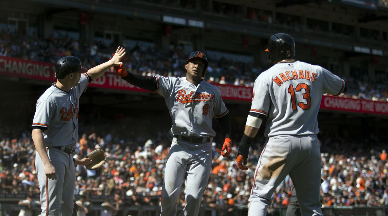 Baltimore Orioles' Jonathan Schoop, center, celebrates his go-ahead three-run home run against the San Francisco Giants with teammates Nolan Remold, left, and Manny Machado, during the ninth inning of a baseball game, Sunday, Aug. 14, 2016, in San Francis
