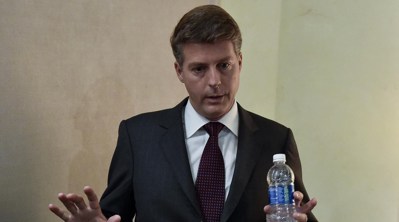 New York Yankees owner Hal Steinbrenner talks to the media at the baseball owners' meetings, Wednesday, Aug. 17, 2016, in Houston. (AP Photo/Eric Christian Smith)