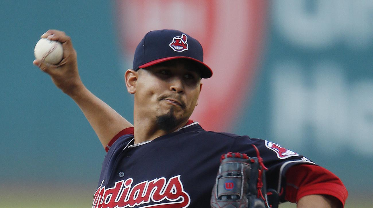 Cleveland Indians starting pitcher Carlos Carrasco delivers against the Chicago White Sox during the first inning of a baseball game Wednesday, Aug. 17, 2016, in Cleveland. (AP Photo/Ron Schwane)